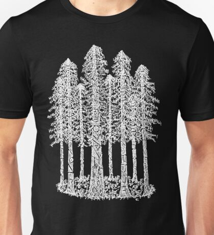 Coastal Redwoods Cathedral Ring Sketch - White Unisex T-Shirt