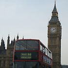 A Double Decker Bus At Big Ben by Allen Lucas