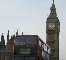 A Double Decker Bus At Big Ben by Allen Lucas