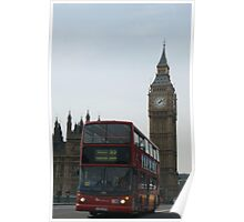 A Double Decker Bus At Big Ben Poster