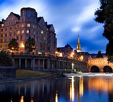 The River Avon reflecting Bath City Centre at Dusk by Mal Bray
