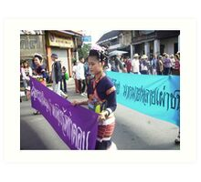 Thai Girl with Purple Banner in Floral Parade. Art Print