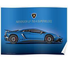 Blue - Aventador LP 750-4 Superveloce 2015 Poster