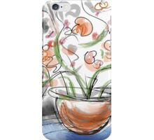 Orange flowers on a Blue Table iPhone Case/Skin