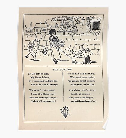 Miniature Under the Window Pictures & Rhymes for Children Kate Greenaway 1880 0008 The Go Cart Poster