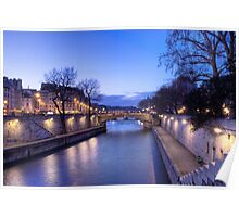 The Seine in the dusk Poster