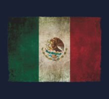 Old and Worn Distressed Vintage Flag of Mexico Kids Tee