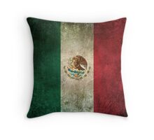 Old and Worn Distressed Vintage Flag of Mexico Throw Pillow