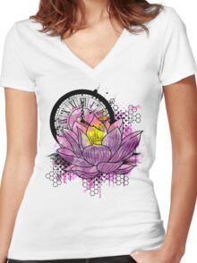 A Tranquil Time - Abstract Lotus Women's Fitted V-Neck T-Shirt