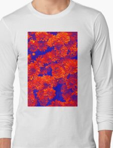 Flowers in blue & red  Long Sleeve T-Shirt