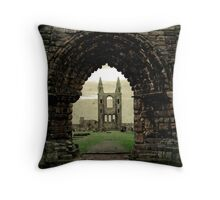 Archway leading to cemetery Throw Pillow