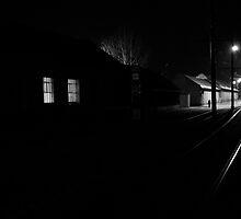 Dark street -  Waiting For The Tram by Nicoras Calin