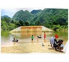 Family Sunday at the River - Thakhek, Laos. Poster