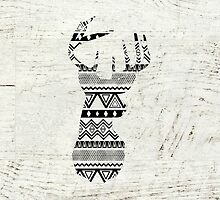 Retro Aztec Deer Head Black White Vintage Wood by GirlyTrend