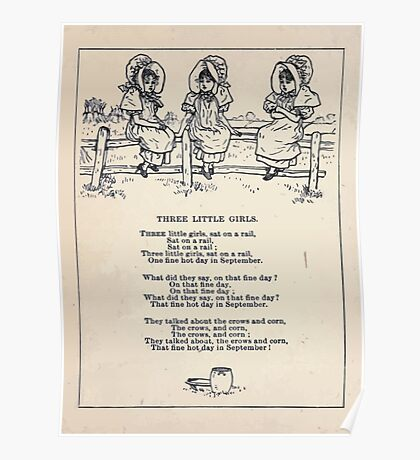 Miniature Under the Window Pictures & Rhymes for Children Kate Greenaway 1880 0032 Three Little Girls Poster