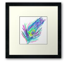 Abstract peacock feather bright watercolor paint Framed Print