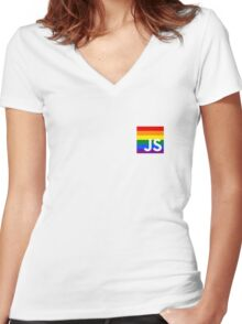 JavaScript Pride Women's Fitted V-Neck T-Shirt