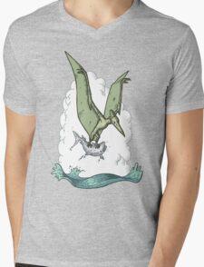 Green Pterodactyl Mens V-Neck T-Shirt