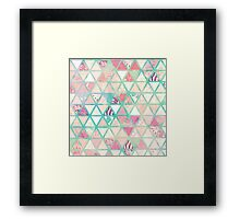 Pink Turquoise Abstract Floral Triangles Patchwork Framed Print