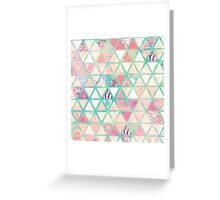 Pink Turquoise Abstract Floral Triangles Patchwork Greeting Card