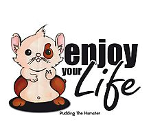 Pudding the hamster - enjoy your life Photographic Print