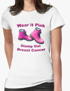 Wear It Pink Stamp Out Breast Cancer Womens Fitted T-Shirt
