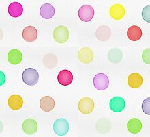 Girly Bright Pastel Rainbow Watercolor Polka Dots by GirlyTrend
