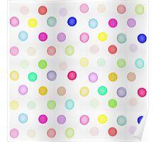 Girly Bright Pastel Rainbow Watercolor Polka Dots Poster
