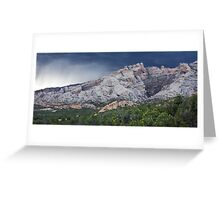 Split Mountain Storm Panorama Greeting Card