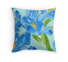 Watercolor iris spring flowers  Throw Pillow
