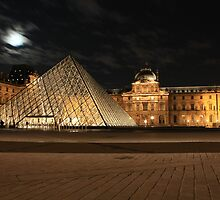 Full Moon Louvre by Adrian Kaczmarek