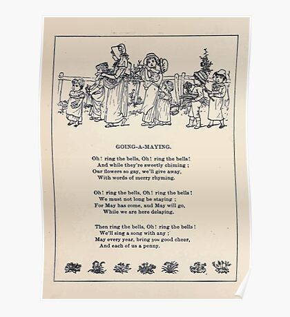 Miniature Under the Window Pictures & Rhymes for Children Kate Greenaway 1880 0022 Going a Maying Poster