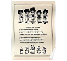 Miniature Under the Window Pictures & Rhymes for Children Kate Greenaway 1880 0051 Five Little Sisters Poster
