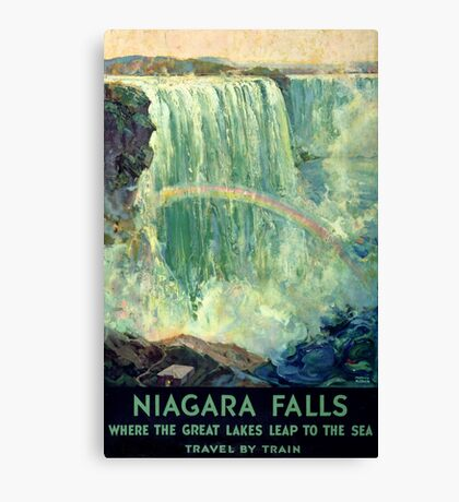 Niagara Falls Vintage Travel Poster Restored Canvas Print