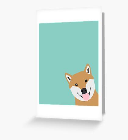 Shiba Inu Peek - cute shiba doge peeking funny dog art print mint turquoise customizable dog gift Greeting Card