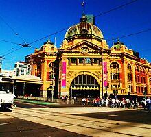 Flinders Street Station - Melbourne, Australia by Debbie Thatcher