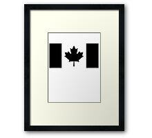 "CANADA, CANADIAN, Canadian Flag, National Flag of Canada, ""A Mari Usque Ad Mare"" Pure & Simple in BLACK,  Framed Print"