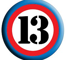 ROUNDEL, TEAM SPORTS, NUMBER 13, THIRTEEN, 13, THIRTEENTH, Competition,  by TOM HILL - Designer