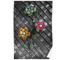 Wall Flowers on Gray Brick Poster