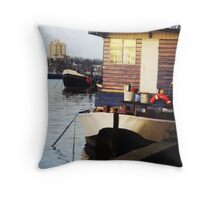Houseboat on the Thames Throw Pillow