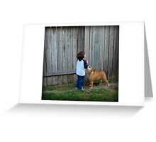 Little boy and his dog... Greeting Card
