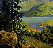 Adirondack Mountains Lake Placid Vintage Poster Restored by Carsten Reisinger