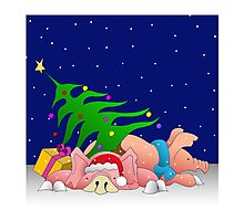 Pigs with tree waiting for Christmas for throw pillows Photographic Print