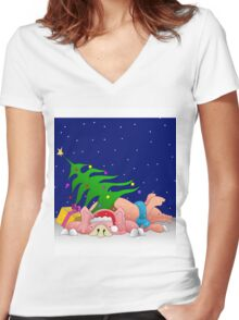 Pigs with tree waiting for Christmas for throw pillows Women's Fitted V-Neck T-Shirt