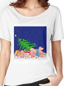 Pigs with tree waiting for Christmas for throw pillows Women's Relaxed Fit T-Shirt