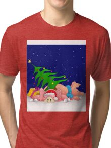 Pigs with tree waiting for Christmas for throw pillows Tri-blend T-Shirt