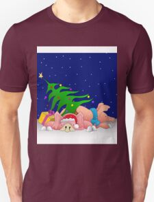 Pigs with tree waiting for Christmas for throw pillows T-Shirt