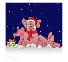 Christmas pigs for throw pillows by Roy Isaacs