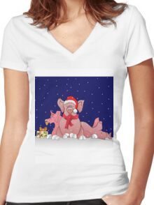Christmas pigs for throw pillows Women's Fitted V-Neck T-Shirt