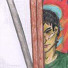 Angry Man Peering around Easle by Kyleacharisse